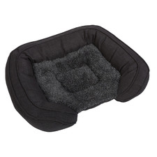 Grey Faux Fur Pet Bed with Padded Bolster