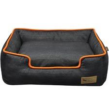 Orange Trim Denim Lounge Pet Bed