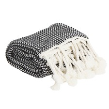Black & White Waffle Knit Mason Throw
