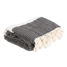 White & Black Queen Lourdes Cotton Throw