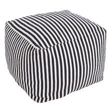 Striped Hamptons Cotton Ottoman Cover