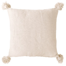 Natural Harper Pom Pom Cotton Cushion Cover