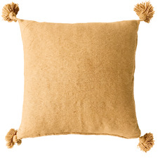Gold Harper Pom Pom Cotton Cushion Cover