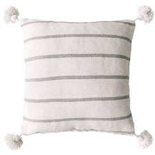 White & Grey Harper Pom Pom Cotton Cushion Cover