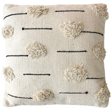 Cream Willow Square Cotton Cushion