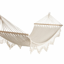 White Zimi Macrame Cotton Hammock