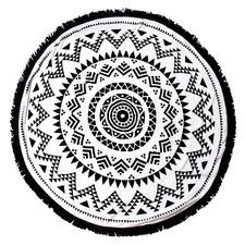 Black Havana Cotton Round Beach Towel