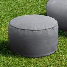 Hamptons Grey Luxury Memory Foam Outdoor Round Ottoman