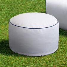Nautical White Luxury Memory Foam Outdoor Round Ottoman
