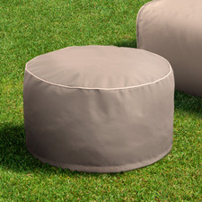 Cappuccino Luxury Memory Foam Outdoor Round Ottoman