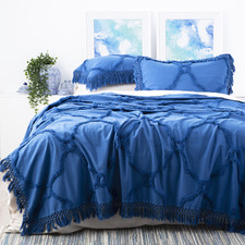 Blue Chenille Vintage-Washed Moroccan Cotton Bed Cover Set