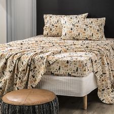 Misty Cats Egyptian Cotton Flannelette Sheet Set