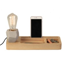 Geo Concrete & Ash Wood Table Lamp & Tray