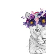 Catherine the Cat Flower Crown Printed Wall Art