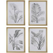 4 Piece Sketched Leaf Framed Print Wall Art Set