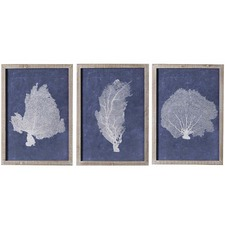 3 Piece Navy Coral A Framed Print Wall Art Set