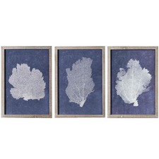 3 Piece Navy Coral B Framed Print Wall Art Set