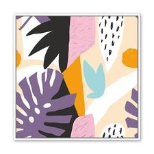 Bright Foliage Collage B Framed Canvas Wall Art