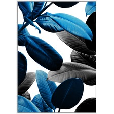 Blue Modern Leaves Framed Canvas Wall Art