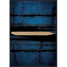 Gold & Navy Abstract Framed Canvas Wall Art