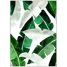 Green Oil Leaves Framed Canvas Wall Art