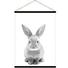 Fu Fu Rabbit Canvas Hanging Scroll