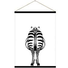 Zu Zu Zebra Back Canvas Hanging Scroll