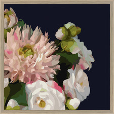 Midnight Blush Florals A Framed Printed Wall Art