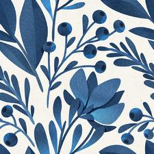 Navy Foliage I Canvas Wall Art