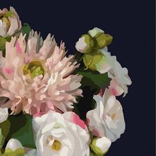 Midnight Blush Florals I Canvas Wall Art