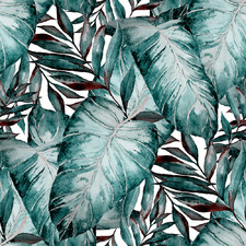 Teal Palms I Canvas Wall Art