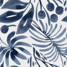 Blue Fan Palm Leaves II Canvas Wall Art
