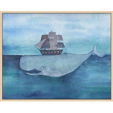 Whale Below Ship Natural Framed Canvas Wall Art