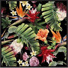 Tropicana Flowers Black Framed Canvas Wall Art