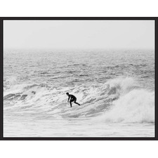 Catch the Wave Surfer Black Framed Canvas Wall Art