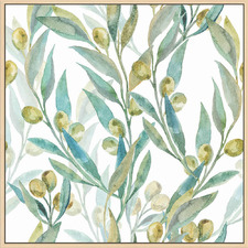 White Olive Branches Natural Framed Canvas Wall Art