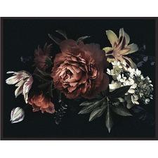Burgundy Midnight Bloom Black Framed Canvas Wall Art