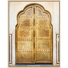 Golden Rays Doorway Natural Framed Canvas Wall Art