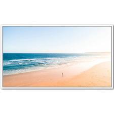 Morning Ocean Walks White Framed Canvas Wall Art