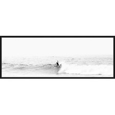 Morning Surfer Wave Black Framed Canvas Wall Art