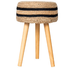 Striped Jordan Seagrass Accent Stool