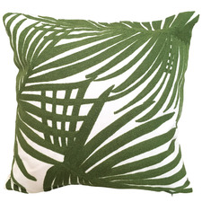 Embroidered Fan Palm Cotton Cushion