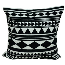 Black Embroidered Abstract Cotton Cushion