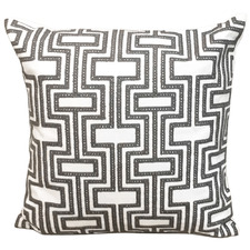 Grey Embroidered Geometric Cotton Cushion