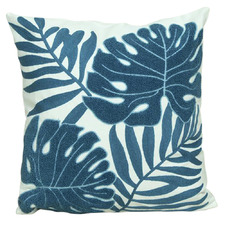 Embroidered Tropical Leaves Cotton Cushion