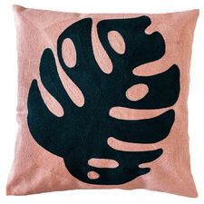 Blush Embroidered Monstera Cotton Cushion