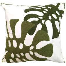 Embroidered Twin Monstera Cotton Cushion
