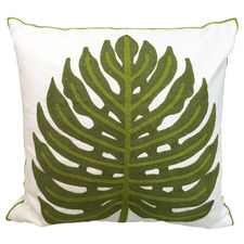 White Embroidered Monstera Cotton Cushion