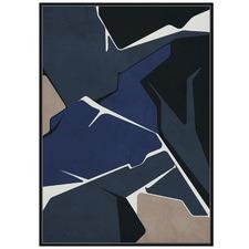 Navy Colour Block Abstract Framed Canvas Wall Art