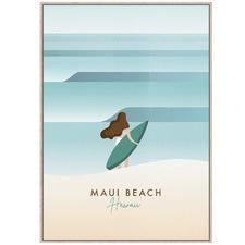 Surfing Hawaii Framed Canvas Wall Art